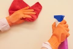Means for cleaning and washing are on the table. royalty free stock images