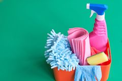 Means for cleaning and washing are on the table. stock photos