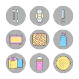Means of female hygiene. Flat icons. Shower gel, a tampon and a pad. Vector illustration royalty free illustration