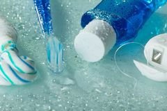 Free Means For Oral Care And Teeth Care On Light Background In Water Drops Stock Photo - 126790490