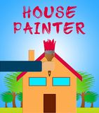 Means Home Painting 3d för husmålare illustration Royaltyfri Illustrationer