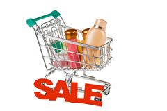 Means of household chemicals in the supermarket trolley Royalty Free Stock Image