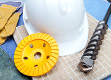 Means of individual protection and construction tool Royalty Free Stock Images