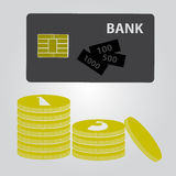 Means of payment - money and card Stock Image