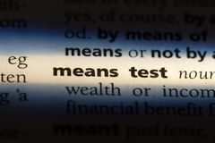 Means test. Word in a dictionary.  concept stock images