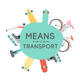 Means of transport background illustration Royalty Free Stock Photo