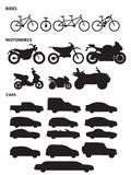 Means of transport 1. Bikes, motorbikes and cars icons Stock Photo