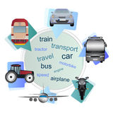 Means of transport in the bubbles. Six types of means of transport (vehicles) - car, bus, train, motorbike, airplane, tractor and train in bubbles. Transport Royalty Free Stock Photo