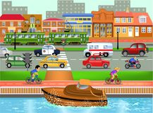 Means of transport in busy town illustration. Means of transport like cars, ambulance, police car, boat in busy town illustration Stock Photo