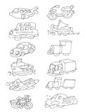 Means of transport chine coloring humorous children. Means of transport Stock Photos