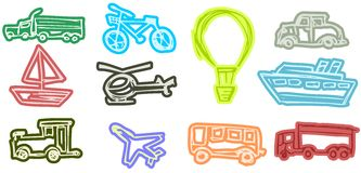 Set of Means of transport isolated Stock Images