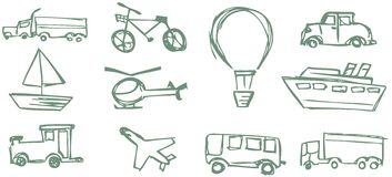 Set of sketches about Means of transport isolated Royalty Free Stock Photos