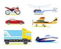 Means of Transportation. Collection of Pictures. Collection of different means of transportation in cartoon style. Motorbike and automobile, car truck with Royalty Free Stock Images