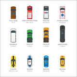 Means of Transportations Collection on White. Means of transportation collection on white. Vector poster of police and ambulance minibuses, fire protection Stock Image
