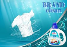 Means for washing and bleaching of linen, with a bottle template. On blue water background with bubbles. Vector illustration Stock Photo