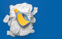 Means for washing on a pile of dirty baby clothes. Gentle care royalty free stock image