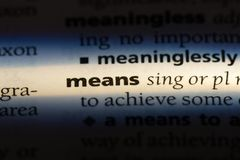 Means. Word in a dictionary.  concept royalty free stock photo