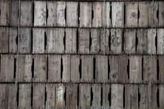 Large stock of wooden fruit boxes. In the meantime, wooden fruit boxes have become obsolete and the plastic case has completely ousted this honest natural royalty free stock photo