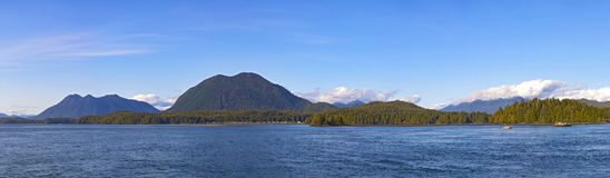 Meares and surrouding islands in Tofino, Vancouver Island, Canad. Panoramic view of Meares and surrouding islands in Tofino, Vancouver Island, Canada stock photo