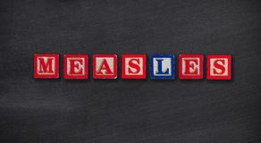 Measles concept. On school chalkboard royalty free stock image