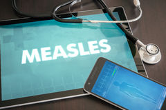 Measles (infectious disease) diagnosis medical concept on tablet. Screen with stethoscope Royalty Free Stock Photo