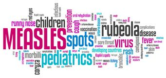 Measles. Infectious virus disease. Word cloud sign Royalty Free Stock Images