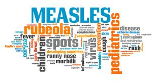 Measles. Infectious virus disease. Word cloud sign Royalty Free Stock Photo
