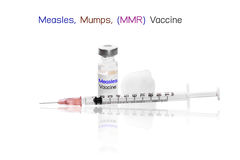 Measles, Mumps, (MMR) Vaccine with needle Royalty Free Stock Photography