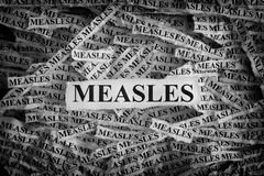 Torn pieces of paper with the words Measles. Measles. Torn pieces of paper with the words Measles. Concept image. Black and White. Close up royalty free stock images