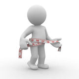 Measure. 3d human with measure in waist Stock Images