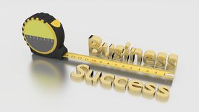 Measure business success concept with tape on white. Tape placed next to the golden words business success measure growth concept 3D illustration on white Stock Image