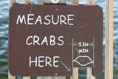 Measure crabs here sign Royalty Free Stock Photos