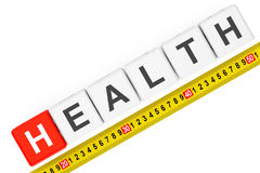 Measure Health Concept. Health Cubes with Measuring Tape Stock Photo