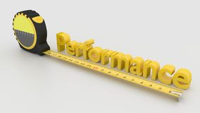 Measure performance concept with tape and 3D text. Tape placed next to the word performance measure performance concept 3D illustration on white Stock Photos