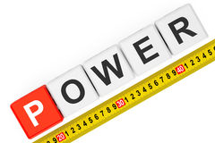 Measure Power Concept. Power Cubes with Measuring Tape Royalty Free Stock Images