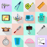 Measure precision icons set, flat style Stock Images