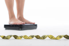 Measure scale for check your weight. With white background royalty free stock image