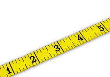 Measure Tape 1-5. Measuring tape on white background with numbers 1-5 royalty free stock photography