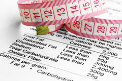 Measure tape. Close up of measure tape on nutrition facts Stock Images