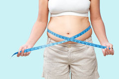 Measure tape around fat belly Stock Images