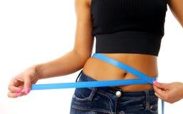 Measure tape around slim Stock Image