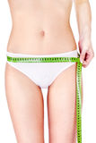 Measure tape around slim woman's hip Stock Image