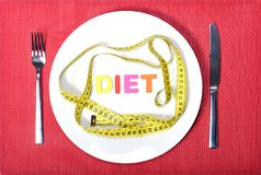Measure tape as meal in diet concept Royalty Free Stock Photography