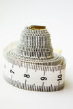 Measure tape or centimeter isolated over white Stock Photo