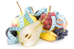 Measure tape and fruits composition Stock Photo