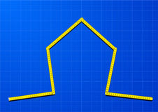 Measure tape house. Illustration of a yellow measure tape shaped as a house on a blueprint background Royalty Free Stock Photography