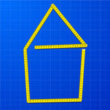 Measure tape house. Illustration of a yellow measure tape shaped as a house on a blueprint background, eps10 Stock Image