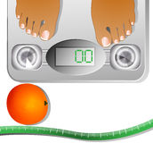 Measure tape, orange and human scales Stock Images