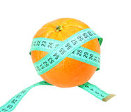 Measure tape on orange tangerine Stock Photography