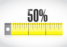 Measure tape with a 50 percentage text. Stock Photos